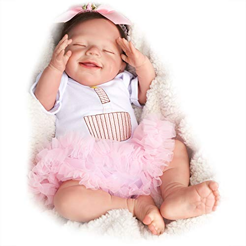 JIZHI Reborn Baby Dolls 20 Inch Realistic Newborn Baby Dolls Sleeping Smile Lifelike Baby Girl Cloth Body Handmade Real Life Reborn Dolls Gift Set Girls Toys Age 3+
