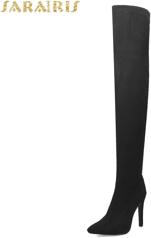 HOESCZS 2018 nagelneue große Größen 31-43 Damenschuhe Stiefel dünne dünne dünne High Heels Over-The-Knie Damenstiefel Rot Schwarz Party Schuhe,  538942