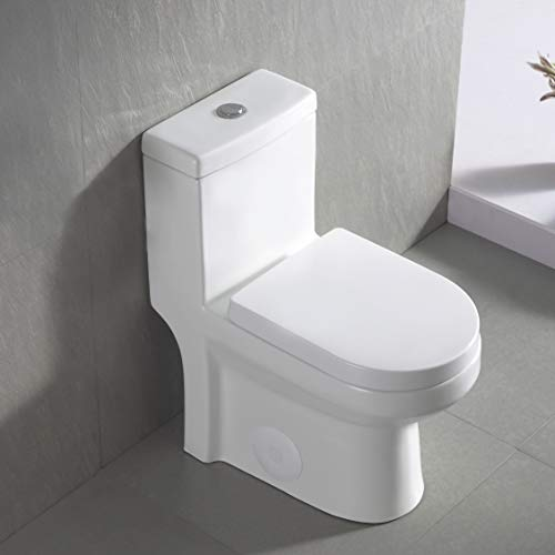 DeerValley DV-1F52812 Luxury Modern One-Piece Toilet, Compact Bathroom Tiny Mini Commode Water Closet Dual Flush Concealed (White)