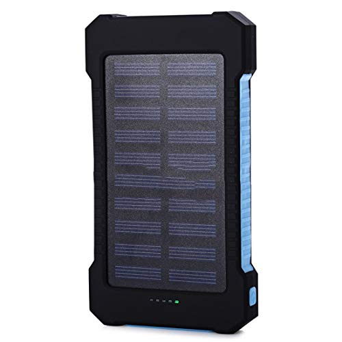 heavKin-Home Portable 10000mah Dual-USB 2A Solar Mobile Power Bank Battery Charger/Creative Compass/ 4-LEDs Indicate (Blue, Size: 16x7.9x2 cm (L x W x T))
