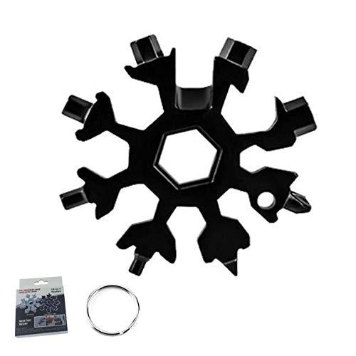 Snowflake Multi Tool,Edc Tool Kit,Keychain Multitool,Multi-tool Card,Fiocco di Neve Multiuso,Multi-tool Key,Apribottiglie Multiuso,Strumento Fiocco di Neve,Multifunzione Portachiavi (nero)