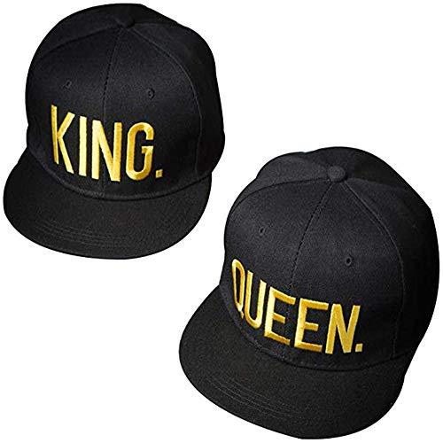 2 Piezas Queen Gorra, King & Queen de Gorra, Gorras De Béisbol De Pareja Hip Hop Street Dance Hat Ajustables, Gorra Ajustable Gorra de Béisbol, King & Queen Gorra de Béisbol (Negro)