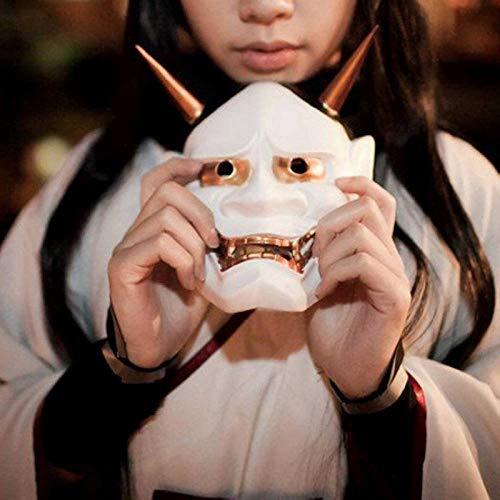 LZNFLY Mascara Vintage japonés Budista Malvado Oni NOH Hannya máscara de Disfraces de Halloween máscara de Terror, Blanco