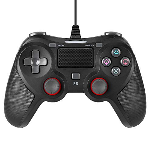 ROTTAY Wired USB Game Controller for Playstation 4, Professional Wired Gamepad Joysticks for Playstation 4/PS4 Slim/PS4 Pro (Wired Black) (Black)