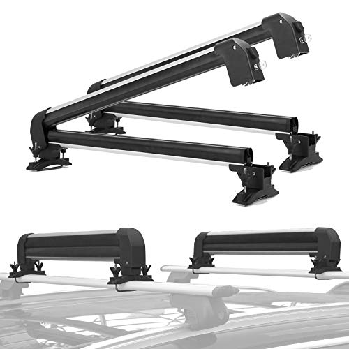 Universal Car Ski Snowboard Roof Racks, CAR DRESS 2 PCS Deluxe Ski Roof Rack Carriers Snowboard Top...