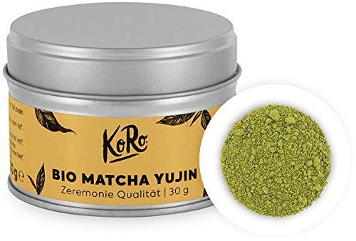 KoRo – Organic Matcha Yujin 30 g – Groene thee uit Japan in ceremoniële kwaliteit in een praktische metalen doos