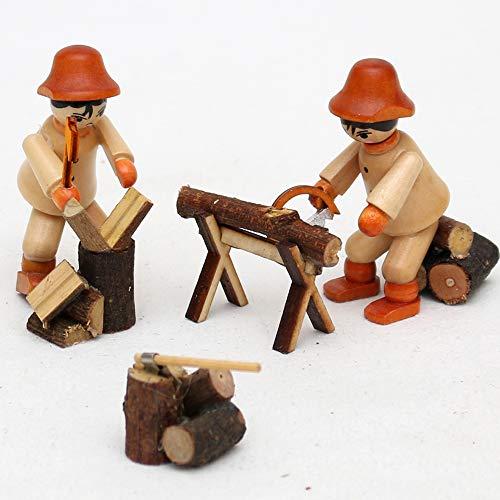 Set van 2 houten figuur houtarbeiders met zaag/hak 1 x 1 x 55 cm - Vogtlandsouvenir