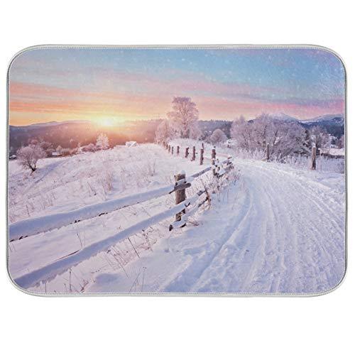 Tapis de séchage à vaisselle en microfibre comptoirs de cuisine protecteur de coussin sec 16 x 18 pouces paysage d'hiver arbres de route couverts de neige