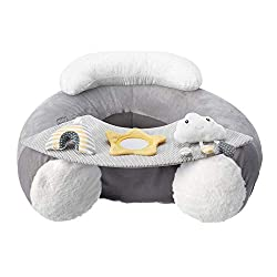 Super comfy, inflatable floor seat with head cushion Detachable tray with velcro attaching interactive toys Head & arm rests perfect for keeping baby sat upright Easy clean cover, machine washable for convenience Cute star, cloud and rainbow toys to ...