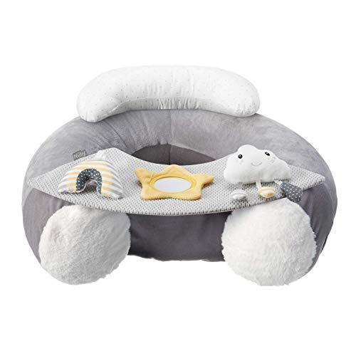 Nuby Sit-Me-Up - Asiento para bebé, diseño de nube y estrella, asiento inflable para sentarse y jugar con bandeja y juguetes para bebé