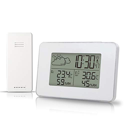 CUzzhtzy Funkwetterstation, elektronische Uhr mit Sensor, Wecker, Temperatur und Luftfeuchtigkeit Vorhersage Snooze-Uhr-Taktgeber, schwarz/weiß (Color : White)