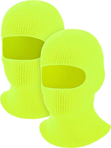 2 Pieces 1-Hole Ski Mask Knitted Face Cover Winter Balaclava Full Face Mask for Winter Outdoor Sports (Yellow)