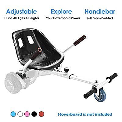 Hoverboard Kart, Hoverboard Seat Attachment Accessories for Self Balancing Scooter Go Kart Conversion Kit Hover Board Cart Buggy Attachment Fits 6.5'' 8'' 10'' Adjustable for All Heights & Ages White