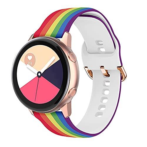Correa de reloj de 20 mm de ancho, de silicona suave, ajustable, con impresión sin marcas, compatible con Samsung Galaxy Watch Active 40 mm/Active 2 44 mm (arcoiris, 22mm)