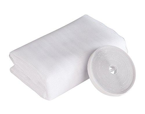 Windhager Insektenschutz Plus Fliegengitter für Fenster, Insektenschutzgewebe, Fliegennetz, individuell zuschneidbar, inkl. Montage-Klettband, 100 x 130cm, weiß, 03487