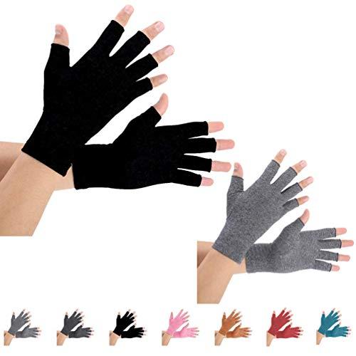 2 Pairs Arthritis Gloves Compression Gloves for women (M Pureblack+Gray)
