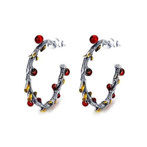 N/N® Ohrringe Für Frauen Creolen 925 Silber Herbst Pflanze Verwelkte Baumblätter Für Mädchen Anti-Allergie-Schmuck
