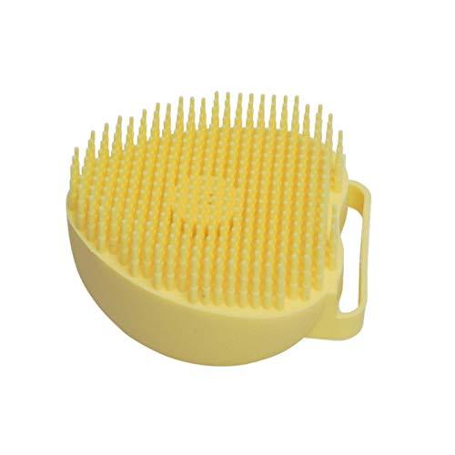 AXUHENGO Cepillo de baño de Silicona Depurador de Ducha con dispensador de Gel Peine Exfoliante de Masaje Amarillo