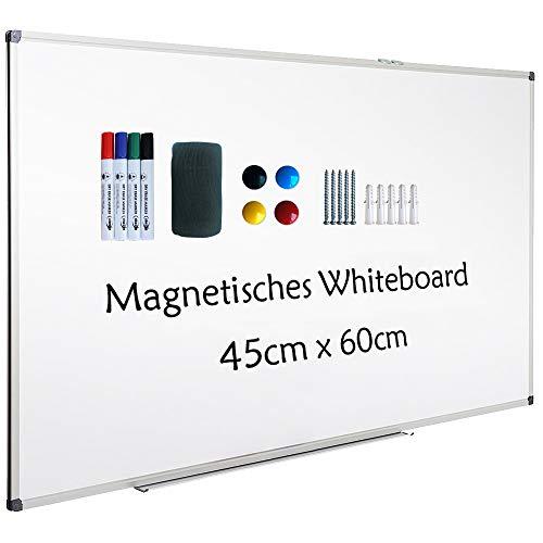 XIWODE Whiteboard mit Stiftablage, Pinnwand Tafel, Magnettafel, beschreibbar und magnetisch, mit kratzfeste Oberfläche, 60cm x 45cm