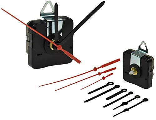 ChiliTec GmbH Uhrwerk mit Uhrzeiger Ersatz-Uhrwerk mit 3 Zeigersätzen Batterie 1x AA/Mignon Quarz-Uhrwerk Kunststoff Zeiger I Uhrenbau Set mit 5mm Gewinde Aufhänger