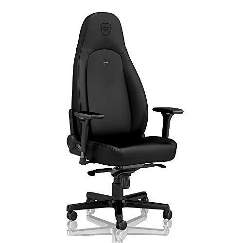 noblechairs ICON Gaming Chair - Office Chair - Desk Chair - PU Faux Leather - 330 lbs - 135° Reclinable - Lumbar Support Cushion - Black Edition black chair gaming
