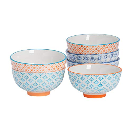 Nicola Spring 6 Piece Hand-Printed Rice Bowl Set - Japanese Style Porcelain Breakfast Cereal Dessert Serving Bowls - 3 Colours - 12cm