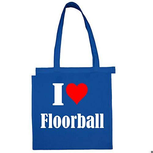 Tasche I Love Floorball Größe 38x42 Farbe Grau Druck Schwarz