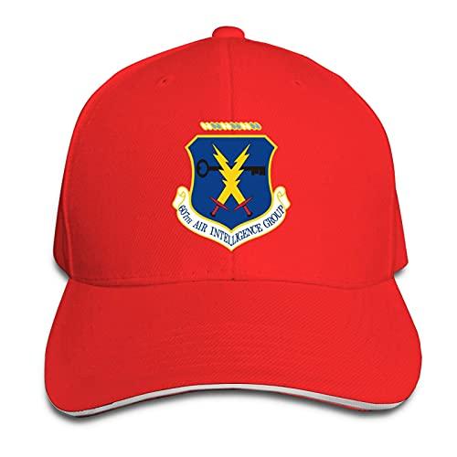 Hdadwy Air Force 607th Air Intelligence Group Vinyl Transfer Unisex Gorra de béisbol Transpirable Gorra de sándwich de Casquette Ajustable