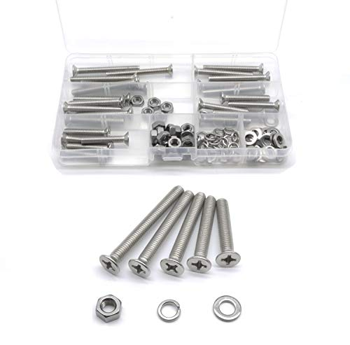 cSeao 100pcs Stainless Steel Phillips Flat M6 Screws Hex Nuts Flat Washers Spring Washers Assortment Kit, M6x35mm/ 40mm/ 45mm/ 50mm/ 55mm