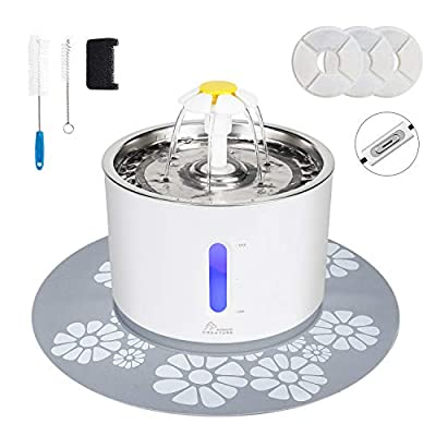 Cat Water Dispenser, Pet Fountain Stainless Steel, 2.4L Cat Water Fountain with 3 Replacement Filters and Cleaning Brushes, Ultra Quiet Water Level Window with LED Light 3 Ways to Drink