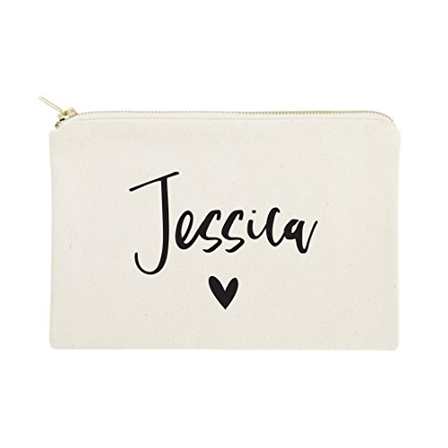The Cotton & Canvas Co. Personalized Name Heart Cosmetic Bag and Travel Makeup Pouch