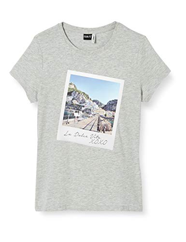 ONLY Damen ONLPEANUTS Life FIT S/S Photo Box JRS T-Shirt, Light Grey Melange, M
