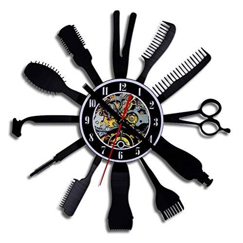 LJHLZFLL Reloj de Pared Sala de Estar Personalidad Creativa Reloj Fashio Herramienta de Corte de Pelo Reloj de Vinilo Creativo Reloj Negro Hueco Arte Familiar Reloj de Pared decoración de Pared Reloj
