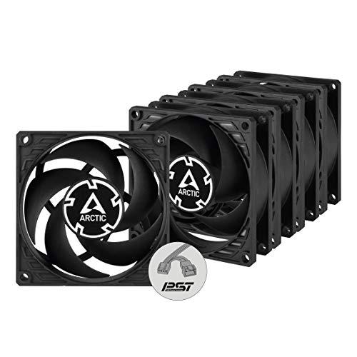 ARCTIC P8 PWM PST Value Pack - 80 mm Ventola, PWM Sharing Technology, Pressione Statica, Connessione PST, Velocità 200-3000 RPM, 0,3 Sone, Pacco da 5 - Nero