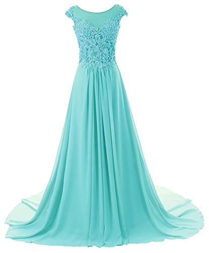 Prom Dress Long Formal Evening Gowns Lace Bridesmaid Dress Chiffon Prom Dresses Appliques Baby Blue US18W