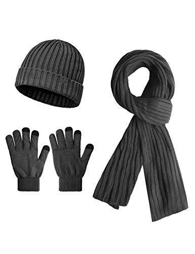 Sykooria Heren Winter 3-delige set muts, sjaal, dikke gebreide handschoenen, antislip, outdoor sport set