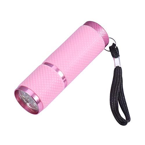 Lurrose Portátil 9 LED Antorcha Linterna UV Luz Ultravioleta Luz de aleación de Aluminio Antorcha de detección de Dinero sin batería (Rosa)