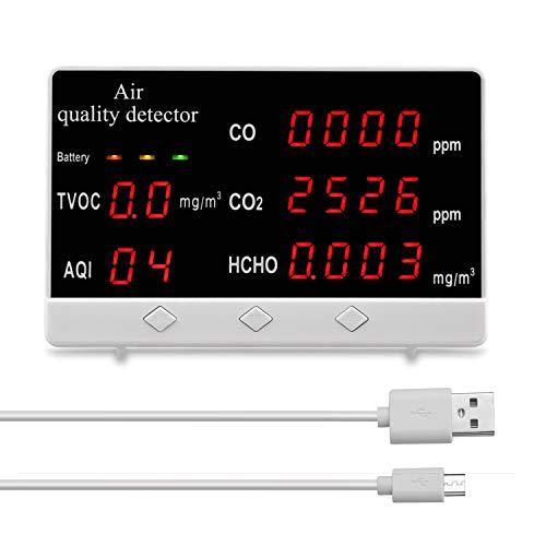 sazoley Luftqualität Messgerät, Multifunktionale Digitalanzeige Hochgenauer CO CO2 HCHO TVOC-Detektor Luftqualitätsanalysator Monitor (Weiß)