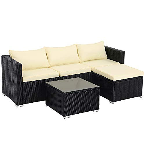 SONGMICS Gartenmöbel-Set, 5-teilig, aus Polyrattan, handgeflochten, Gartensofa, Gartentisch mit Glasplatte, mit Kissen, für Outdoor, Garten, schwarz-beige GGF005B01