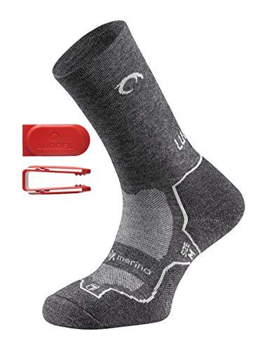 Lurbel FANLO Premium Merino - Calcetines de senderismo y trekking, antibacterianos, acolchado ergonómico, para hombre y mujer, gris, 39-42