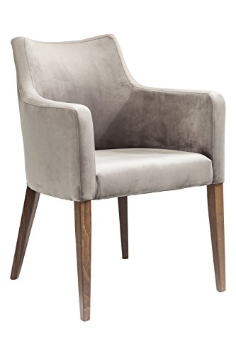 KARE Design Armlehnstuhl Mode Velvet Grey 82470, Stuhl mit Samt Bezug, Polsterstuhl Grau, Füße Buche massiv, Nussbaum lackiert