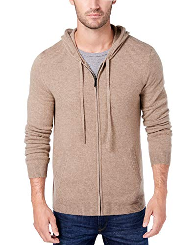 Light Beige Men's Cashmere Hoodie Sweatshirt