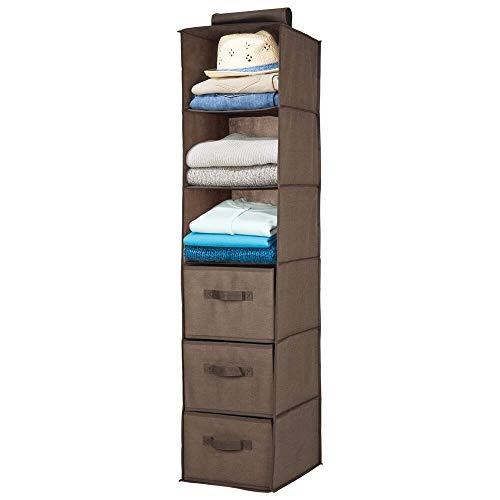 mDesign Organizador de armario colgante de fibra sintética – Práctico colgador de armario con 3 estantes de tela y 3 cajones para dormitorio – Ideal para organizar armarios – marrón