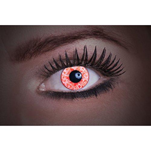 Eyecatcher Diamond UV, Farbige Kontaktlinsen, red, Leuchten im Schwarzlicht, 1er Pack (1 x 2 Stück)