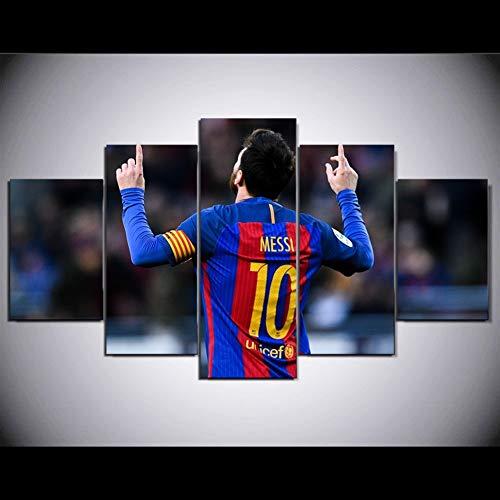 Toile 5 pièce Fc Barcelone Messi imprimé peinture for vivre Accrochage art déco d'impression HD œuvres d'art moderne affiche de football (Color : No framed, Size (Inch) : Size3)