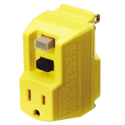 TRC Southwire 14650013-6 120-Volt, 15-Amp, 1800-Watts, Single Outlet GFCI Adapter, For Indoor Use With Manual Reset, Yellow