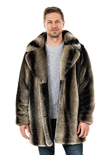 Mens Grey Chinchilla Notch-Collar Faux Fur Coat (2X) (Grey)