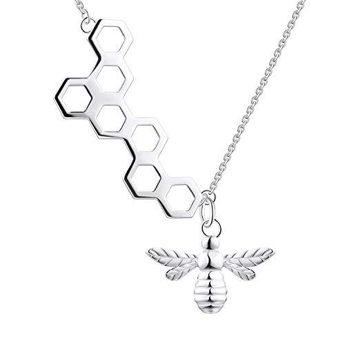 FJ Damen Biene Halskette Honey Bee Bumble Bee Honeycomb Disc Halskette Biene Medaillon Anhänger 925er Sterling Silber, Schmuck Geschenke für Damen Mädchen