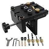 GJCrafts Kit de gabarit de Positionnement pour le travail du bois Kit de gabarit de trou de poche 3 en 1 avec clip de positionnement Guide de perçage réglable localisateur de perforateur pour meubles