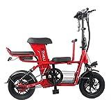 Takmeway Scooter eléctrico Bicicleta Padre-Hijo 3 Asiento 2 Ruedas Scooters eléctricos 400W 48V 20A Viaje para Bicicleta eléctrica,Rojo